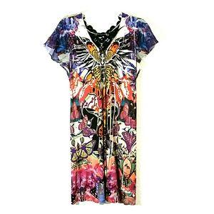 Unity World Wear Butterfly Print Sheath Dress Med